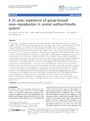 Vol 56: A 25 years experience of group-housed sows-reproduction in animal welfare-friendly systems.