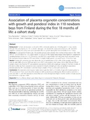 Vol 13: Association of placenta organotin concentrations with growth and ponderal index in 110 newborn boys from Finland during the first 18 months of life: a cohort study.