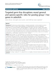 Vol 14: Targeted germ line disruptions reveal general and species-specific roles for paralog group 1 hox genes in zebrafish.