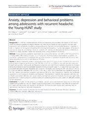 Vol 15: Anxiety, depression and behavioral problems among adolescents with recurrent headache: the Young-HUNT study.