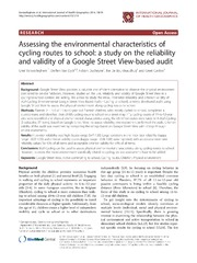 Vol 13: Assessing the environmental characteristics of cycling routes to school: a study on the reliability and validity of a Google Street View-based audit.