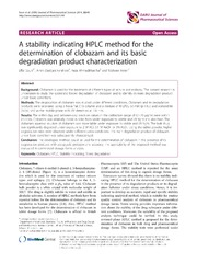 Vol 22: A stability indicating HPLC method for the determination of clobazam and its basic degradation product characterization.
