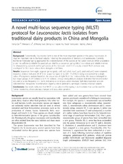 Vol 14: A novel multi-locus sequence typing (MLST) protocol for Leuconostoc lactis isolates from traditional dairy products in China and Mongolia.