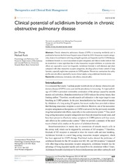 Vol 10: Clinical potential of aclidinium bromide in chronic obstructive pulmonary disease.