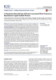 Vol 55: A Population-Based Study of Factors Associated With Nocturia in Reproductive-Aged Turkish Women.