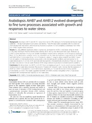 Vol 14: Arabidopsis AtHB7 and AtHB12 evolved divergently to fine tune processes associated with growth and responses to water stress.