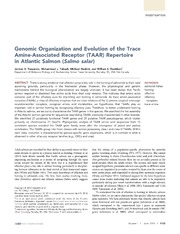 Vol 4: Genomic Organization and Evolution of the Trace Amine-Associated Receptor (TAAR) Repertoire in Atlantic Salmon (Salmo salar).