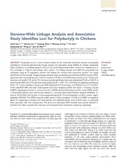 Vol 4: Genome-Wide Linkage Analysis and Association Study Identifies Loci for Polydactyly in Chickens.