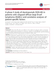 Vol 7: A phase II study of dacetuzumab (SGN-40) in patients with relapsed diffuse large B-cell lymphoma (DLBCL) and correlative analyses of patient-specific factors.