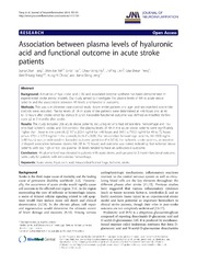 Vol 11: Association between plasma levels of hyaluronic acid and functional outcome in acute stroke patients.