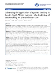 Vol 12: Advancing the application of systems thinking in health: South African examples of a leadership of sensemaking for primary health care.