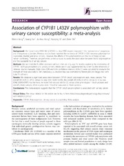 Vol 9: Association of CYP1B1 L432V polymorphism with urinary cancer susceptibility: a meta-analysis.