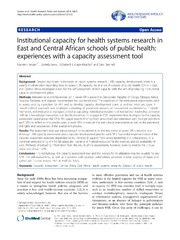 Vol 12: Institutional capacity for health systems research in East and Central African schools of public health: experiences with a capacity assessment tool.