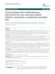 Vol 14: A theory-based online health behaviour intervention for new university students (U@Uni): results from a randomised controlled trial.