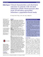 Vol 4: Clinical characteristics and short-term outcomes in patients with elevated admission systolic blood pressure after acute ST-elevation myocardial infarction: a population-based study.