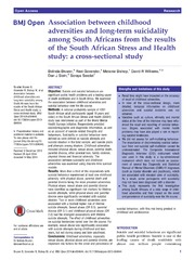 Vol 4: Association between childhood adversities and long-term suicidality among South Africans from the results of the South African Stress and Health study: a cross-sectional study.