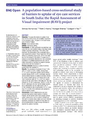 Vol 4: A population-based cross-sectional study of barriers to uptake of eye care services in South India: the Rapid Assessment of Visual Impairment (RAVI) project.