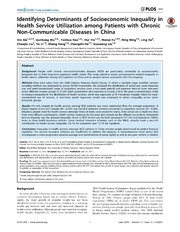 Vol 9: Identifying Determinants of Socioeconomic Inequality in Health Service Utilization among Patients with Chronic Non-Communicable Diseases in China.