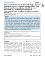 Vol 9: Immunohistochemical Evaluation of Androgen Receptor and Nerve Structure Density in Human Prepuce from Patients with Persistent Sexual Side Effects after Finasteride Use for Androgenetic Alopecia.