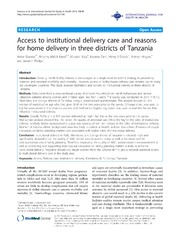 Vol 13: Access to institutional delivery care and reasons for home delivery in three districts of Tanzania.