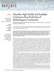 Vol 4: Versatile, High Quality and Scalable Continuous Flow Production of Metal-Organic Frameworks.