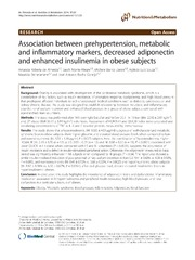Vol 11: Association between prehypertension, metabolic and inflammatory markers, decreased adiponectin and enhanced insulinemia in obese subjects.