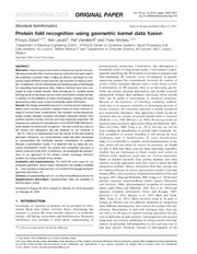 Vol 30: Protein fold recognition using geometric kernel data fusion.