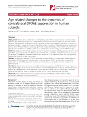 Vol 43: Age related changes to the dynamics of contralateral DPOAE suppression in human subjects.