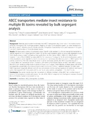 Vol 12: ABCC transporters mediate insect resistance to multiple Bt toxins revealed by bulk segregant analysis.