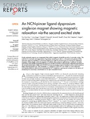 Vol 4: An NCN-pincer ligand dysprosium single-ion magnet showing magnetic relaxation via the second excited state.
