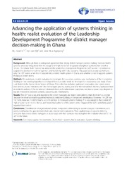 Vol 12: Advancing the application of systems thinking in health: realist evaluation of the Leadership Development Programme for district manager decision-making in Ghana.