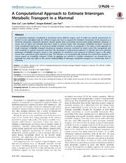 Vol 9: A Computational Approach to Estimate Interorgan Metabolic Transport in a Mammal.