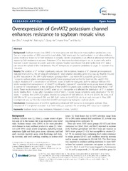 Vol 14: Overexpression of GmAKT2 potassium channel enhances resistance to soybean mosaic virus.