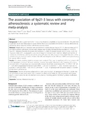 Vol 15: The association of 9p21-3 locus with coronary atherosclerosis: a systematic review and meta-analysis.