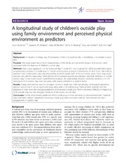 Vol 11: A longitudinal study of children-s outside play using family environment and perceived physical environment as predictors.