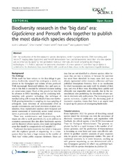 Vol 2: Biodiversity research in the big data era: GigaScience and Pensoft work together to publish the most data-rich species description.