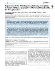 Vol 9: Regulation of the JNK3 Signaling Pathway during Islet Isolation: JNK3 and c-fos as New Markers of Islet Quality for Transplantation.