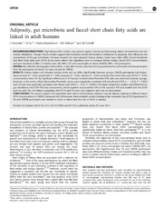 Vol 4: Adiposity, gut microbiota and faecal short chain fatty acids are linked in adult humans.