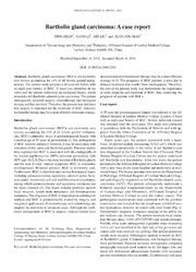 Vol 8: Bartholin gland carcinoma: A case report.