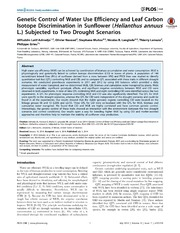 Vol 9: Genetic Control of Water Use Efficiency and Leaf Carbon Isotope Discrimination in Sunflower (Helianthus annuus L.) Subjected to Two Drought Scenarios.