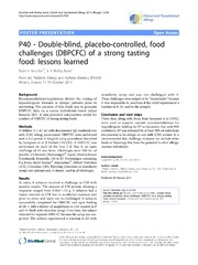 Vol 4: P40 - Double-blind, placebo-controlled, food challenges DBPCFC of a strong tasting food: lessons learned.