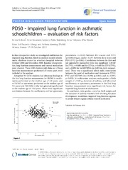 Vol 4: PD50 - Impaired lung function in asthmatic schoolchildren - evaluation of risk factors.