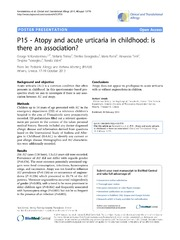 Vol 4: P15 - Atopy and acute urticaria in childhood: is there an association