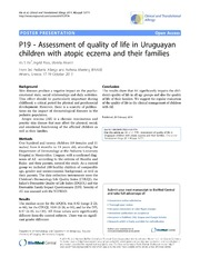Vol 4: P19 - Assessment of quality of life in Uruguayan children with atopic eczema and their families.