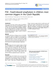 Vol 4: P34 - Food-induced anaphylaxis in children: most common triggers in the Czech Republic.