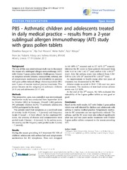 Vol 4: P85 - Asthmatic children and adolescents treated in daily medical practice - results from a 2-year sublingual allergen immunotherapy AIT study with grass pollen tablets.