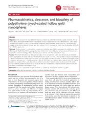Vol 11: Pharmacokinetics, clearance, and biosafety of polyethylene glycol-coated hollow gold nanospheres.