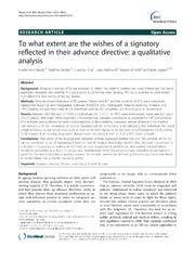 Vol 15: To what extent are the wishes of a signatory reflected in their advance directive: a qualitative analysis.