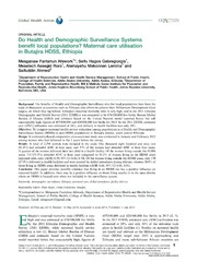 Vol 7: Do Health and Demographic Surveillance Systems benefit local populations Maternal care utilisation in Butajira HDSS, Ethiopia.