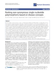 Vol 8: Ranking non-synonymous single nucleotide polymorphisms based on disease concepts.